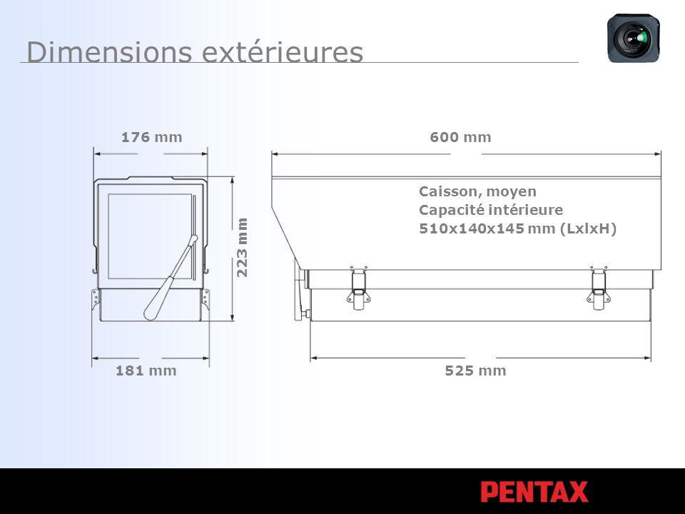 Dimensions extérieures Caisson, moyen Capacité intérieure 510x140x145 mm (LxlxH) 600 mm 525 mm 181 mm 176 mm 223 mm