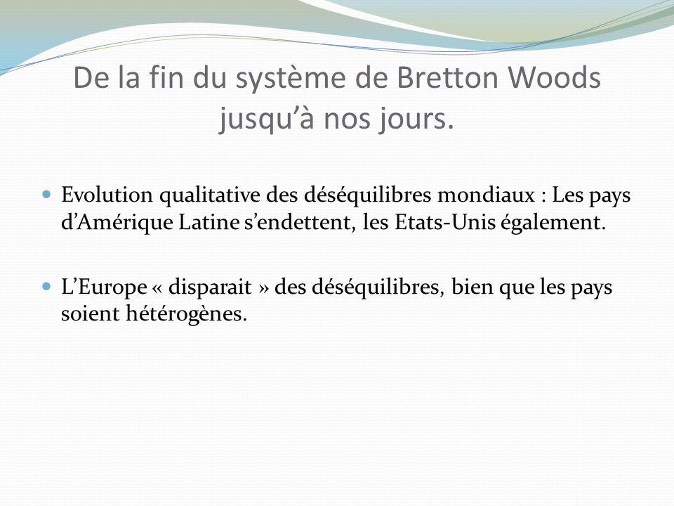De la fin du système de Bretton Woods jusquà nos jours.