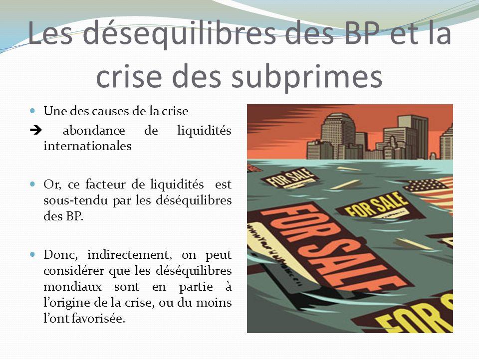 Les désequilibres des BP et la crise des subprimes Une des causes de la crise abondance de liquidités internationales Or, ce facteur de liquidités est sous-tendu par les déséquilibres des BP.