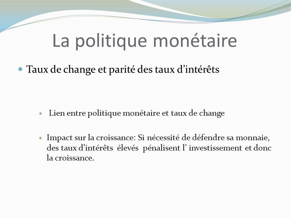 La politique monétaire Taux de change et parité des taux dintérêts Lien entre politique monétaire et taux de change Impact sur la croissance: Si nécessité de défendre sa monnaie, des taux dintérêts élevés pénalisent l investissement et donc la croissance.
