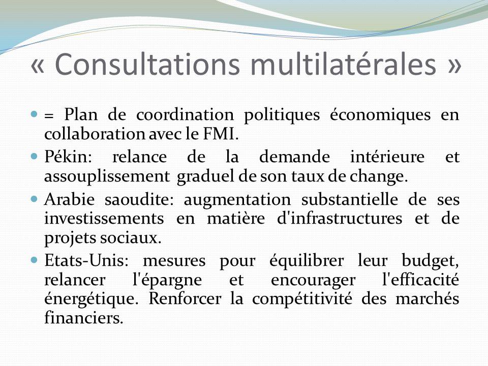 « Consultations multilatérales » = Plan de coordination politiques économiques en collaboration avec le FMI.