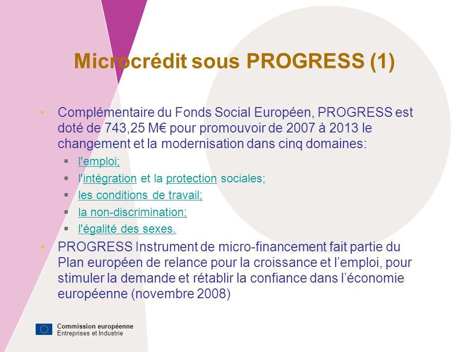 Commission européenne Entreprises et Industrie Microcrédit sous PROGRESS (1) Complémentaire du Fonds Social Européen, PROGRESS est doté de 743,25 M pour promouvoir de 2007 à 2013 le changement et la modernisation dans cinq domaines: l emploi; l intégration et la protection sociales;intégrationprotection les conditions de travail; la non-discrimination; l égalité des sexes.