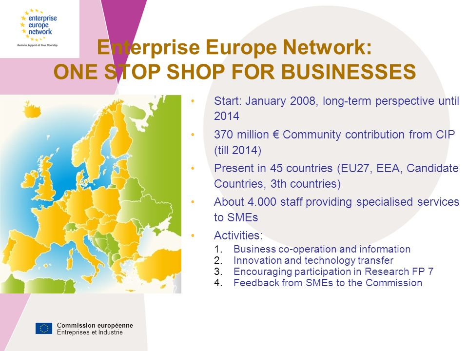 Commission européenne Entreprises et Industrie Enterprise Europe Network: ONE STOP SHOP FOR BUSINESSES Start: January 2008, long-term perspective until million Community contribution from CIP (till 2014) Present in 45 countries (EU27, EEA, Candidate Countries, 3th countries) About staff providing specialised services to SMEs Activities: 1.Business co-operation and information 2.Innovation and technology transfer 3.Encouraging participation in Research FP 7 4.Feedback from SMEs to the Commission