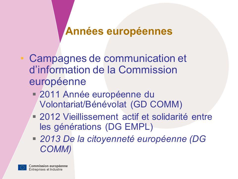 Commission européenne Entreprises et Industrie Années européennes Campagnes de communication et dinformation de la Commission européenne 2011 Année européenne du Volontariat/Bénévolat (GD COMM) 2012 Vieillissement actif et solidarité entre les générations (DG EMPL) 2013 De la citoyenneté européenne (DG COMM)