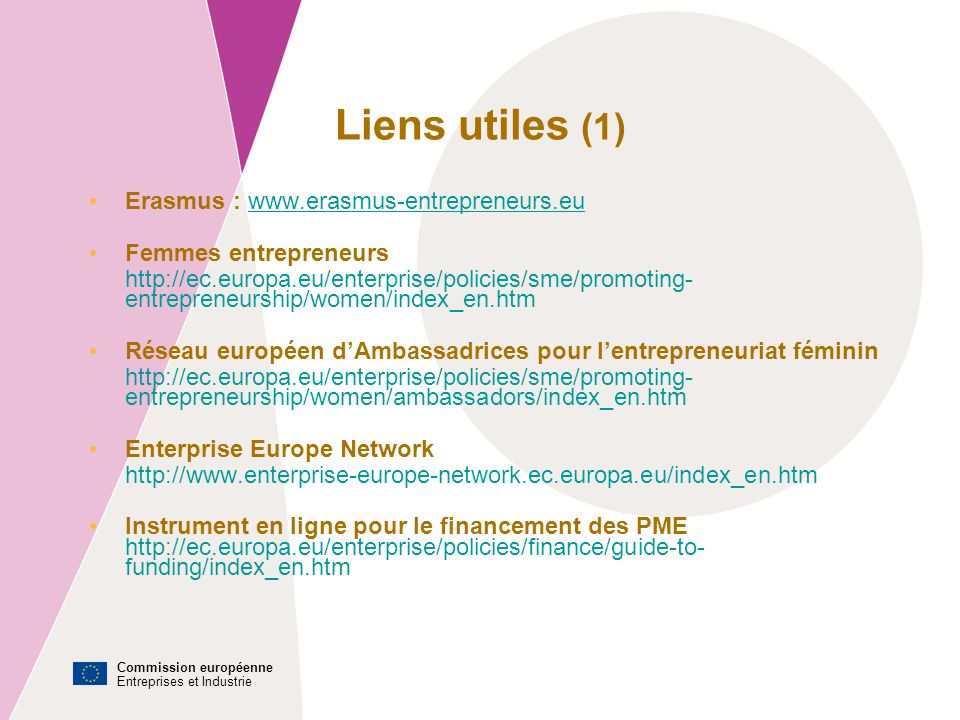 Commission européenne Entreprises et Industrie Liens utiles (1) Erasmus : www.erasmus-entrepreneurs.euwww.erasmus-entrepreneurs.eu Femmes entrepreneurs http://ec.europa.eu/enterprise/policies/sme/promoting- entrepreneurship/women/index_en.htm Réseau européen dAmbassadrices pour lentrepreneuriat féminin http://ec.europa.eu/enterprise/policies/sme/promoting- entrepreneurship/women/ambassadors/index_en.htm Enterprise Europe Network http://www.enterprise-europe-network.ec.europa.eu/index_en.htm Instrument en ligne pour le financement des PME http://ec.europa.eu/enterprise/policies/finance/guide-to- funding/index_en.htm