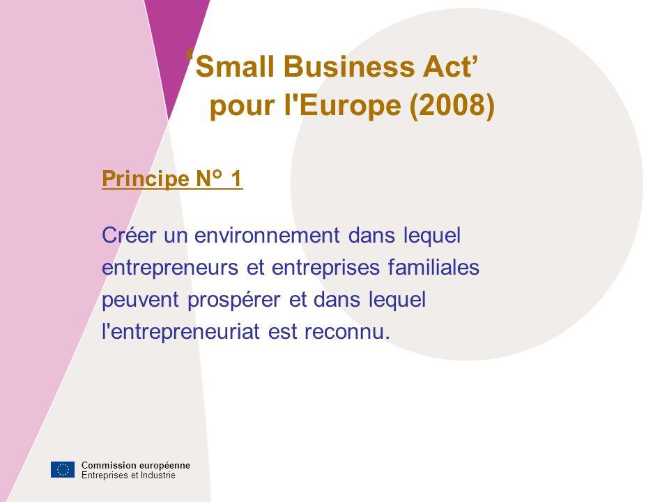 Commission européenne Entreprises et Industrie Small Business Act pour l Europe (2008) Principe N° 1 Créer un environnement dans lequel entrepreneurs et entreprises familiales peuvent prospérer et dans lequel l entrepreneuriat est reconnu.