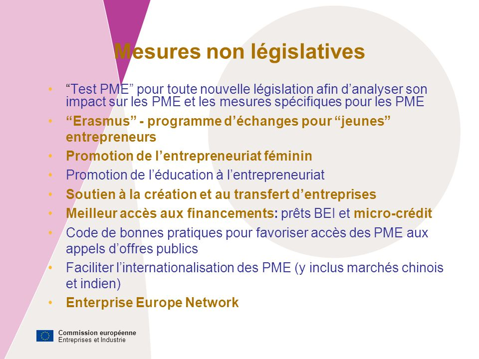 Commission européenne Entreprises et Industrie Erasmus pour jeunes entrepreneurs Offre à de « nouveaux » entrepreneurs la possibilité de travailler jusquà six mois aux côtés d un dirigeant expérimenté d une PME, établi dans un autre pays de lUnion européenne.