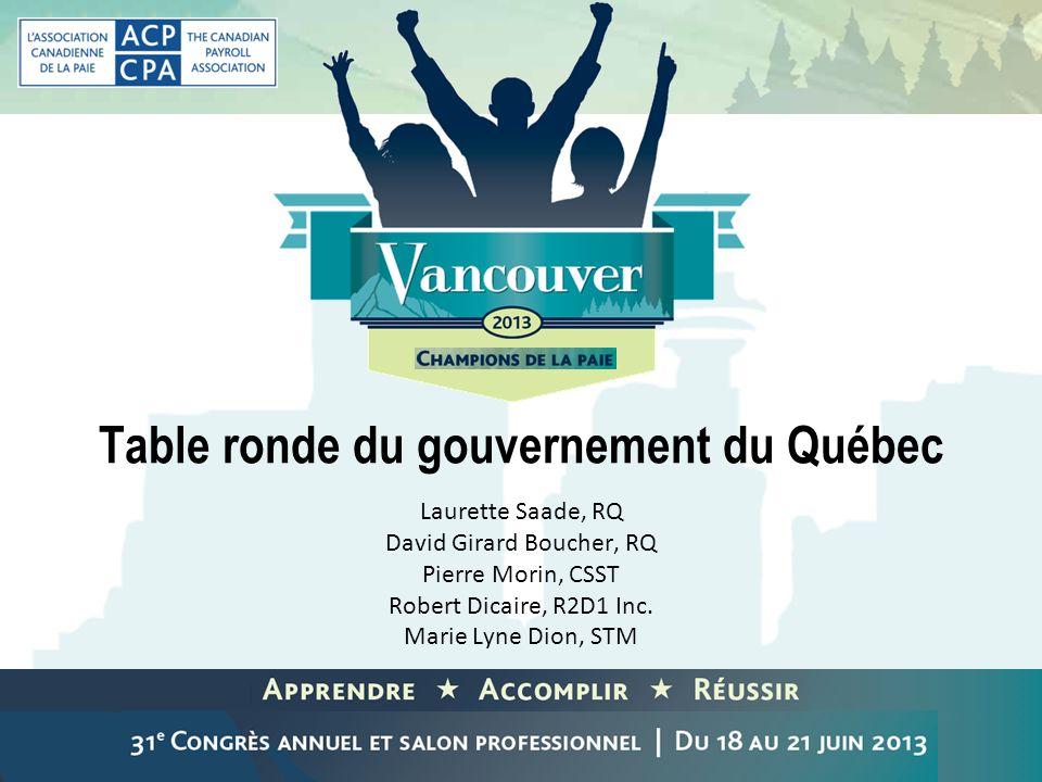 Table ronde du gouvernement du Québec Laurette Saade, RQ David Girard Boucher, RQ Pierre Morin, CSST Robert Dicaire, R2D1 Inc. Marie Lyne Dion, STM