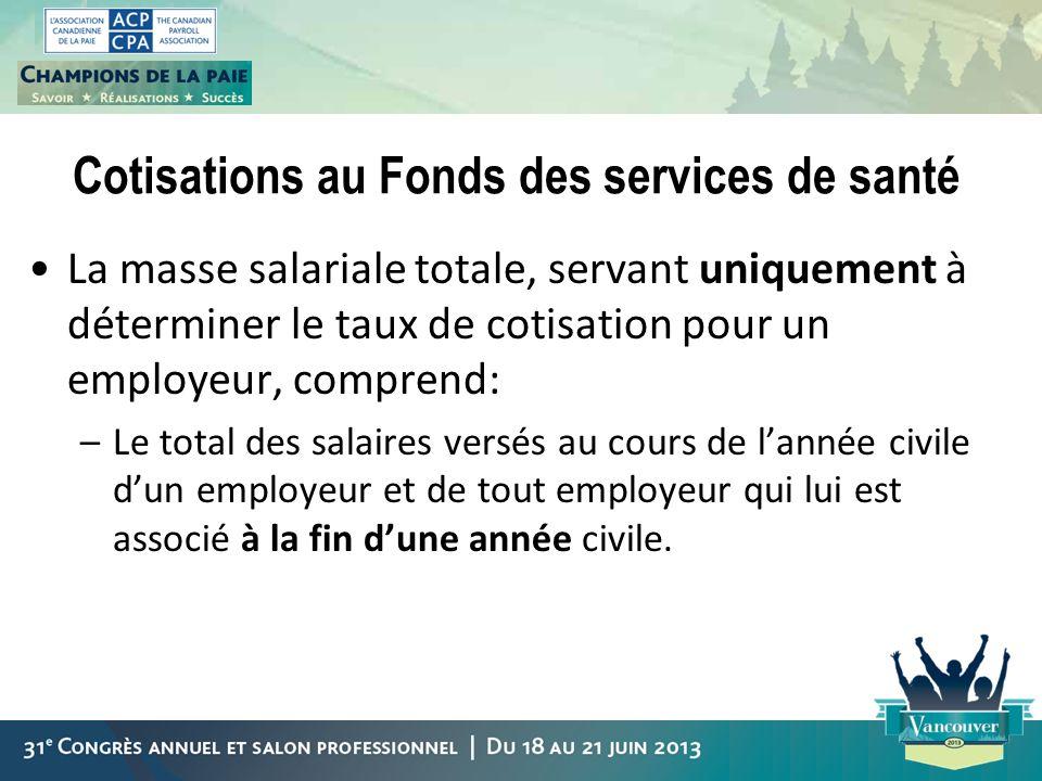 Cotisations au Fonds des services de santé La masse salariale totale, servant uniquement à déterminer le taux de cotisation pour un employeur, compren