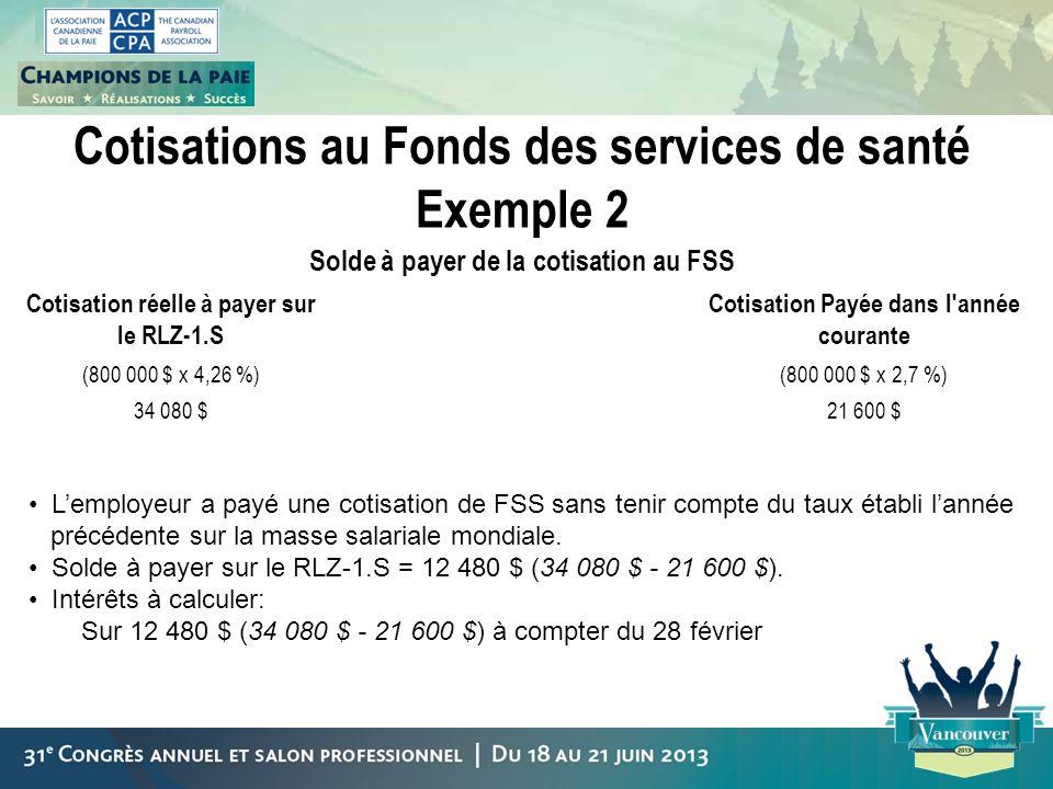 Cotisations au Fonds des services de santé Exemple 2 Solde à payer de la cotisation au FSS Cotisation réelle à payer sur le RLZ-1.S Cotisation Payée d