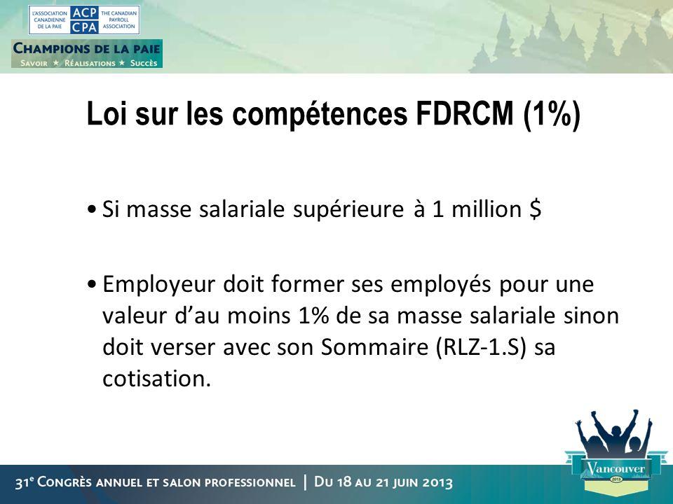 Loi sur les compétences FDRCM (1%) Si masse salariale supérieure à 1 million $ Employeur doit former ses employés pour une valeur dau moins 1% de sa m