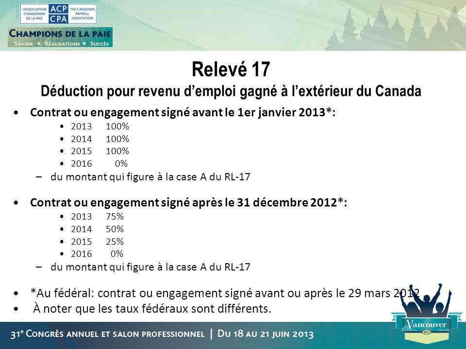 Relevé 17 Déduction pour revenu demploi gagné à lextérieur du Canada Contrat ou engagement signé avant le 1er janvier 2013*: 2013100% 2014100% 2015100