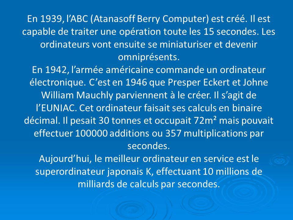 En 1939, lABC (Atanasoff Berry Computer) est créé. Il est capable de traiter une opération toute les 15 secondes. Les ordinateurs vont ensuite se mini