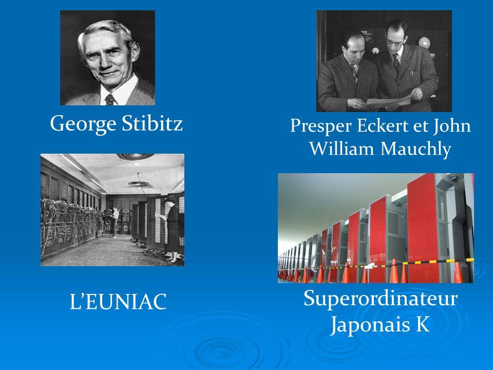George Stibitz Presper Eckert et John William Mauchly LEUNIAC Superordinateur Japonais K