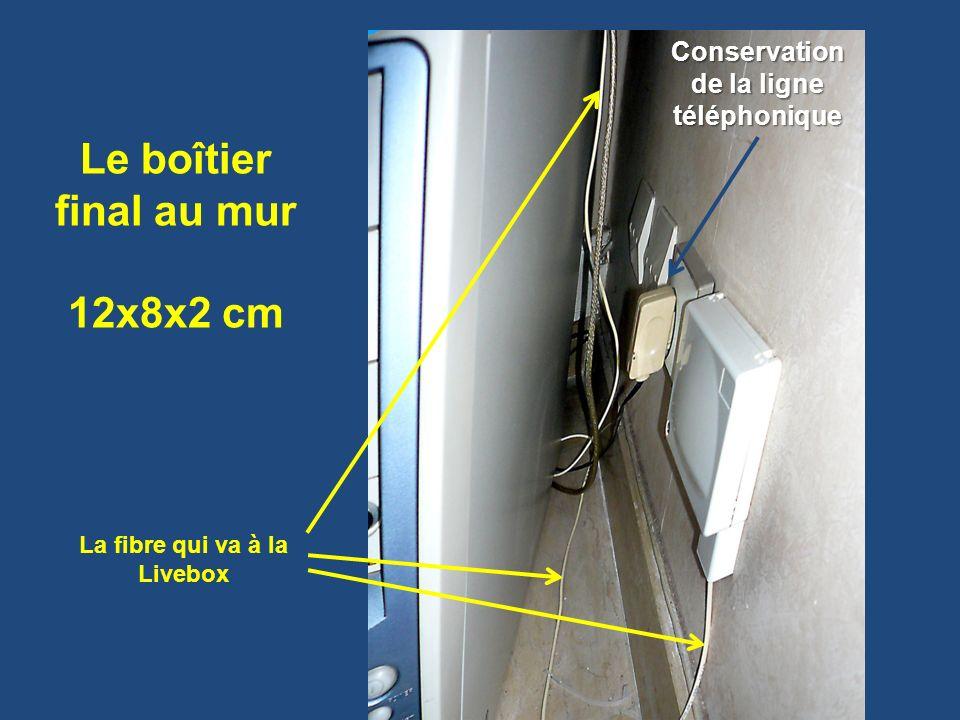 Le boîtier final au mur 12x8x2 cm Conservation de la ligne téléphonique La fibre qui va à la Livebox