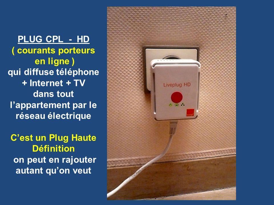 PLUG CPL - HD ( courants porteurs en ligne ) qui diffuse téléphone + Internet + TV dans tout lappartement par le réseau électrique Cest un Plug Haute