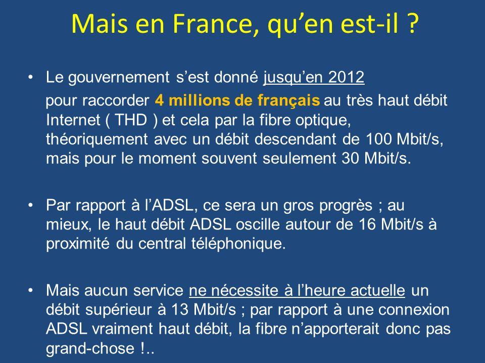 Mais en France, quen est-il ? Le gouvernement sest donné jusquen 2012 pour raccorder 4 millions de français au très haut débit Internet ( THD ) et cel