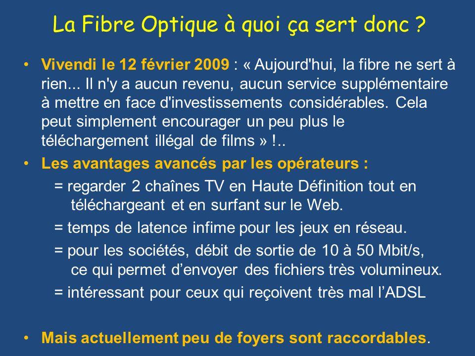 La Fibre Optique à quoi ça sert donc ? Vivendi le 12 février 2009 : « Aujourd'hui, la fibre ne sert à rien... Il n'y a aucun revenu, aucun service sup