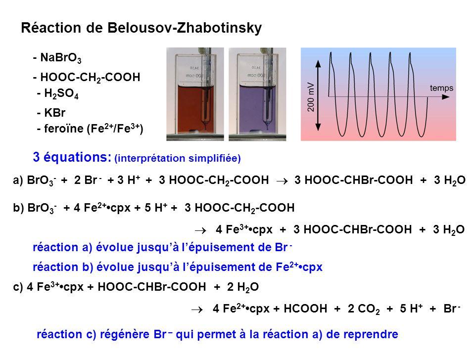 Réaction de Belousov-Zhabotinsky système bistable, change entre 2 états stables (attracteurs) Suppression de lagitation: le système se fractionne en « cellules » à évolution stochastique les « cellules » voisines sinfluencent par diffusion des réactifs (frottement) structures dissipatives