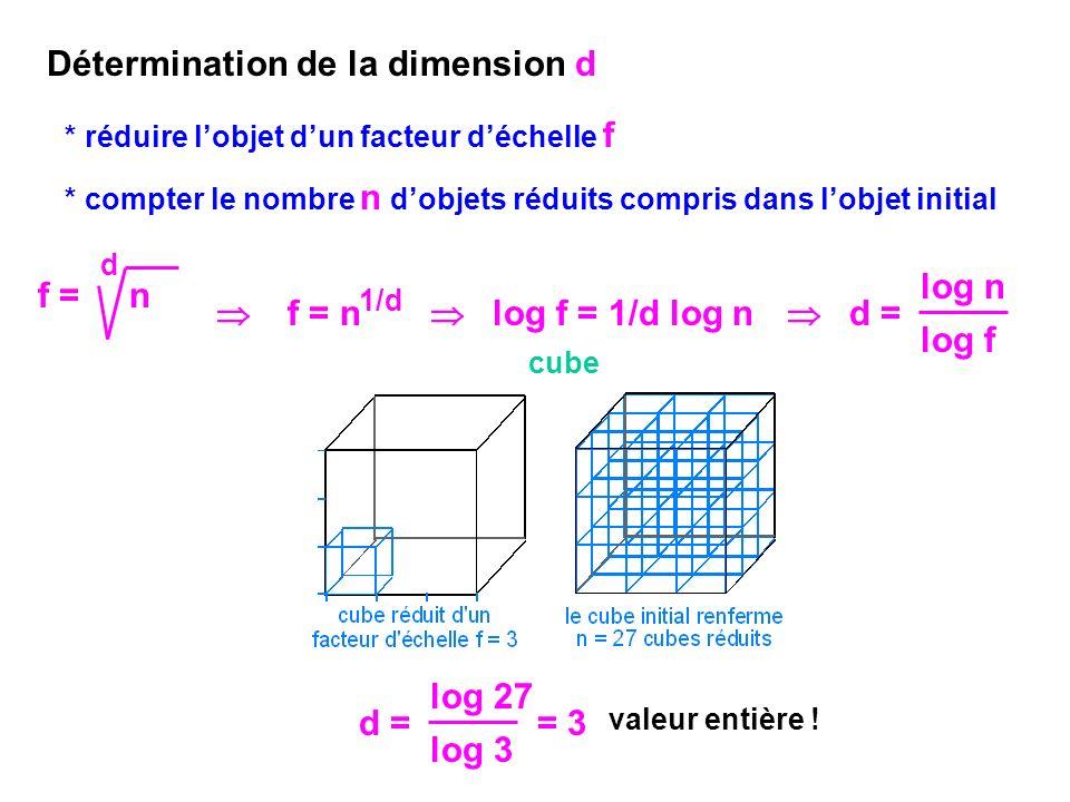 Courbe de Koch: chaque segment initial est subdivisé en 3: f = 3 algorithme chaque segment initial est remplacé par 4 segments réduits: n = 4 d = log 4 log 3 = 1,261 valeur non entière .