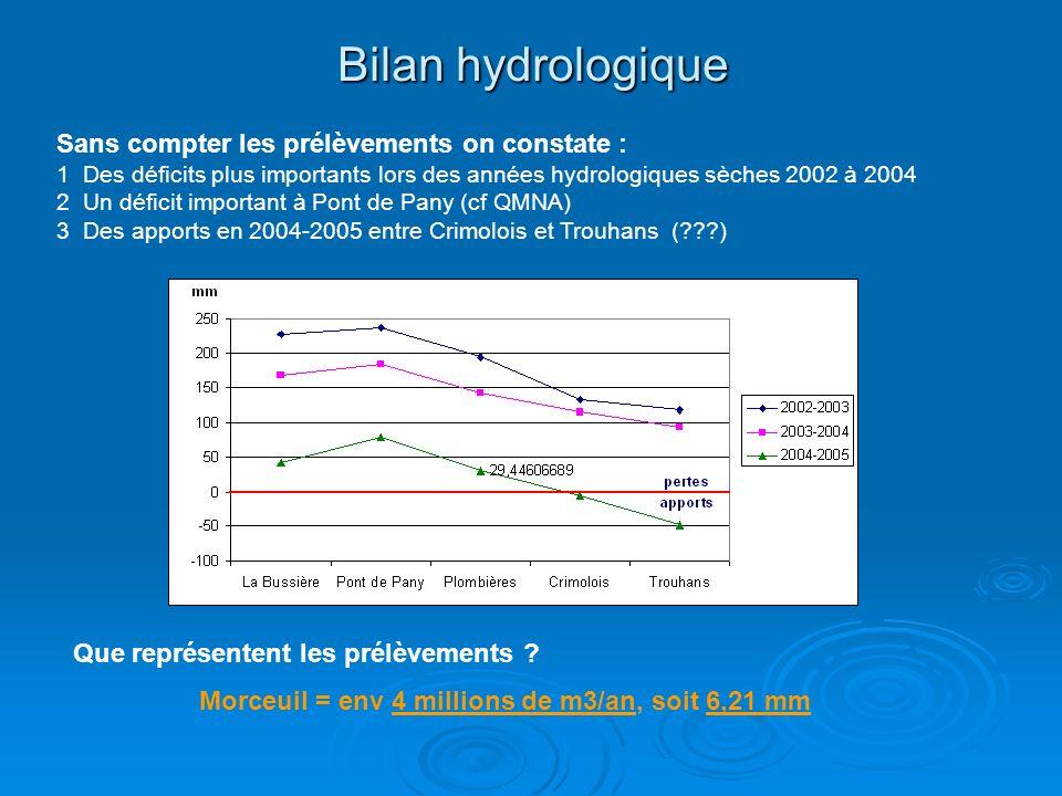 Bilan hydrologique Sans compter les prélèvements on constate : 1 Des déficits plus importants lors des années hydrologiques sèches 2002 à 2004 2 Un déficit important à Pont de Pany (cf QMNA) 3 Des apports en 2004-2005 entre Crimolois et Trouhans (???) Morceuil = env 4 millions de m3/an, soit 6,21 mm Que représentent les prélèvements ?