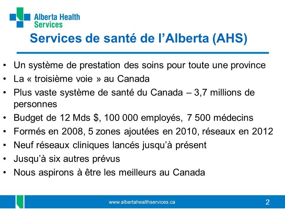 22 Services de santé de lAlberta (AHS) Un système de prestation des soins pour toute une province La « troisième voie » au Canada Plus vaste système de santé du Canada – 3,7 millions de personnes Budget de 12 Mds $, 100 000 employés, 7 500 médecins Formés en 2008, 5 zones ajoutées en 2010, réseaux en 2012 Neuf réseaux cliniques lancés jusquà présent Jusquà six autres prévus Nous aspirons à être les meilleurs au Canada