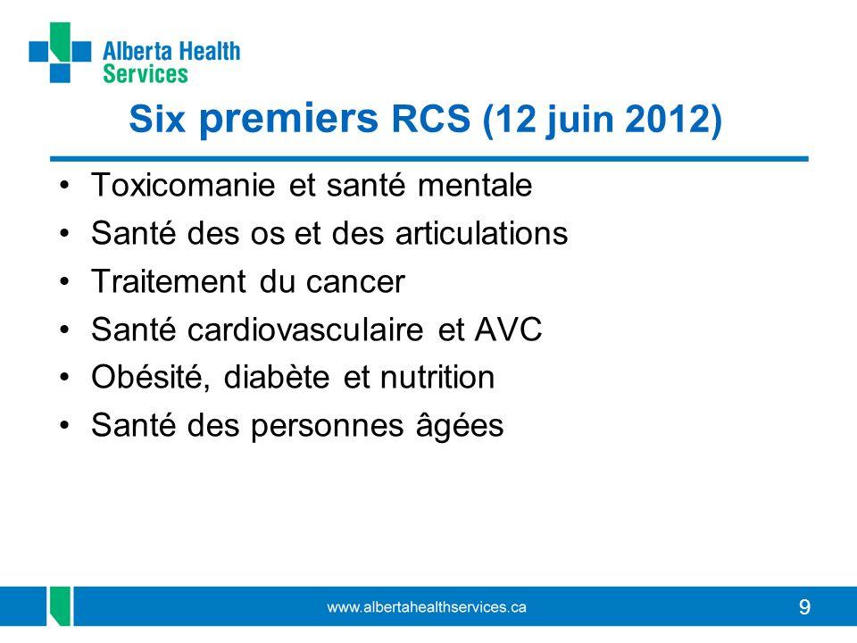 99 Six premiers RCS (12 juin 2012) Toxicomanie et santé mentale Santé des os et des articulations Traitement du cancer Santé cardiovasculaire et AVC Obésité, diabète et nutrition Santé des personnes âgées