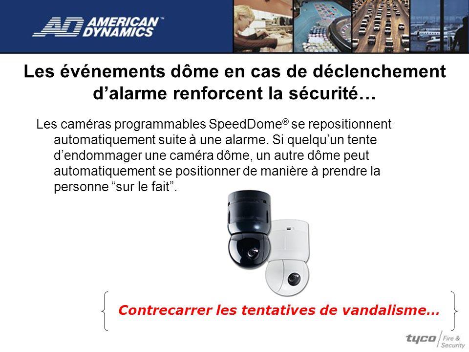 Les événements dôme en cas de déclenchement dalarme renforcent la sécurité… Les caméras programmables SpeedDome ® se repositionnent automatiquement su