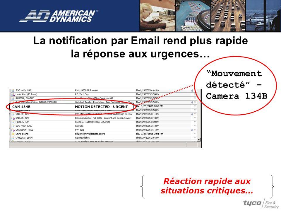 La notification par Email rend plus rapide la réponse aux urgences… Réaction rapide aux situations critiques… Mouvement détecté – Camera 134B CAM 134B