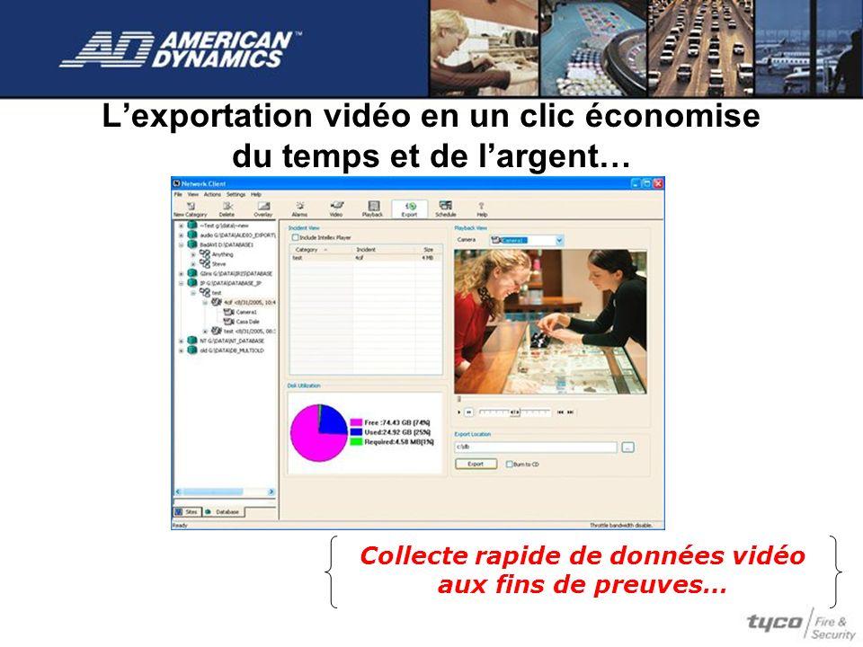 Lexportation vidéo en un clic économise du temps et de largent… Collecte rapide de données vidéo aux fins de preuves…