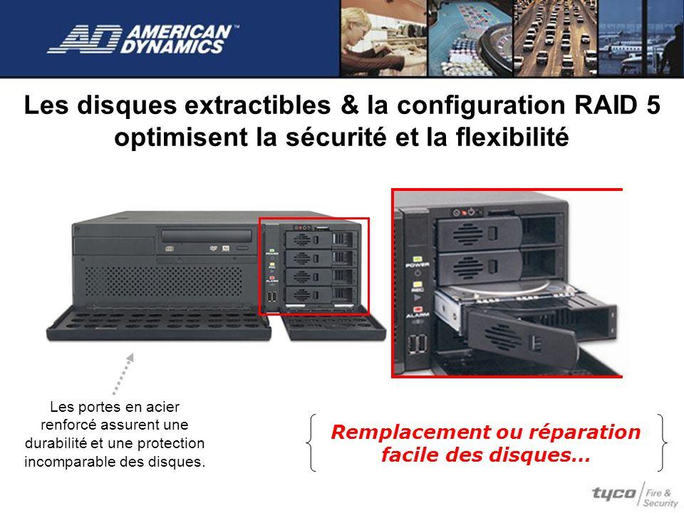 Les disques extractibles & la configuration RAID 5 optimisent la sécurité et la flexibilité Remplacement ou réparation facile des disques… Les portes