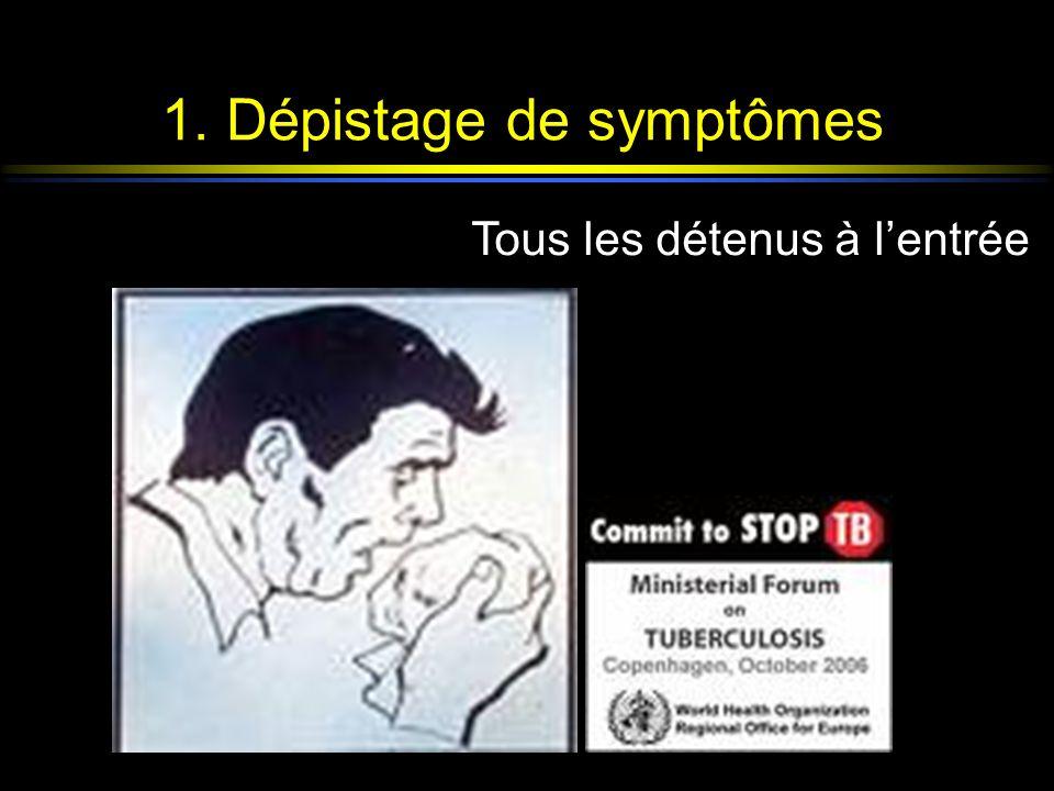 1. Dépistage de symptômes Tous les détenus à lentrée