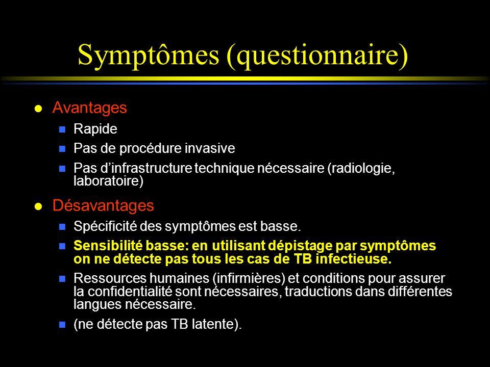 Symptômes (questionnaire) l Avantages n Rapide n Pas de procédure invasive n Pas dinfrastructure technique nécessaire (radiologie, laboratoire) l Désa