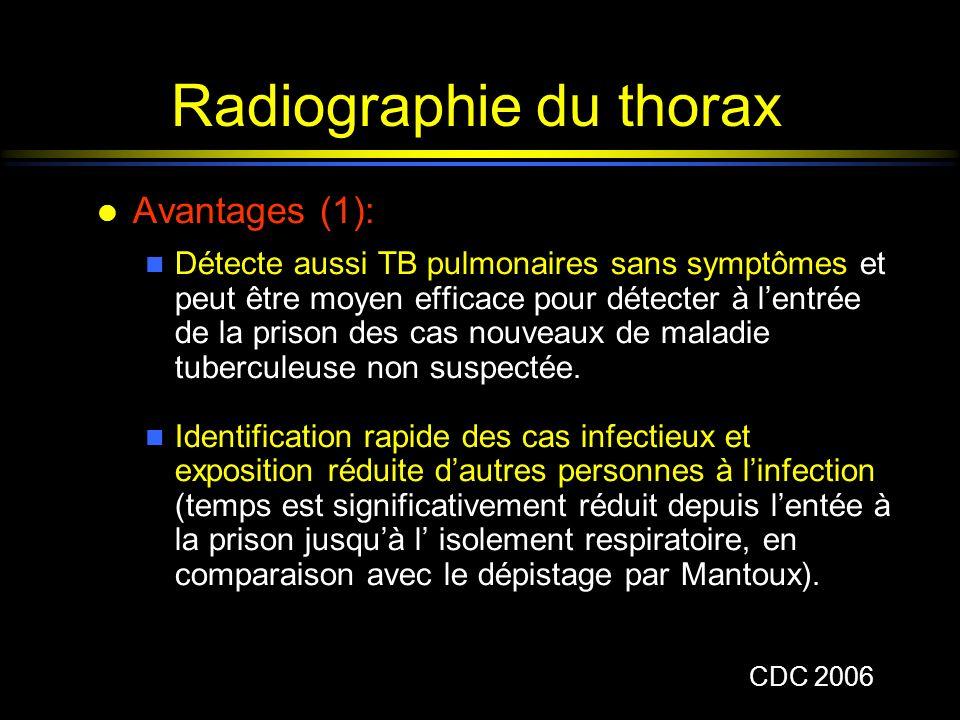 Radiographie du thorax l Avantages (1): n Détecte aussi TB pulmonaires sans symptômes et peut être moyen efficace pour détecter à lentrée de la prison