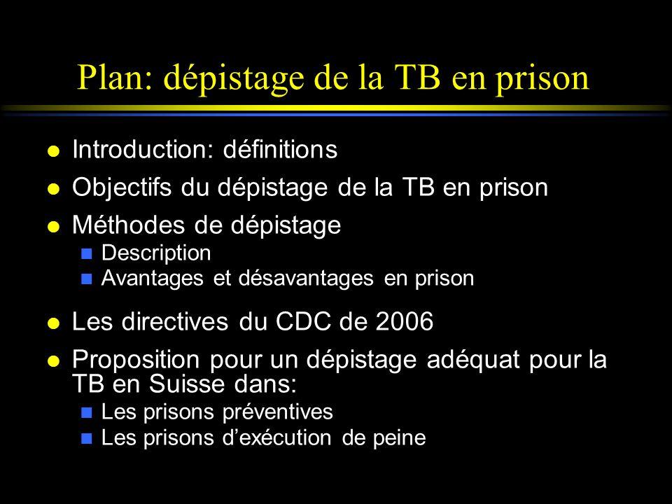 Plan: dépistage de la TB en prison l Introduction: définitions l Objectifs du dépistage de la TB en prison l Méthodes de dépistage n Description n Ava