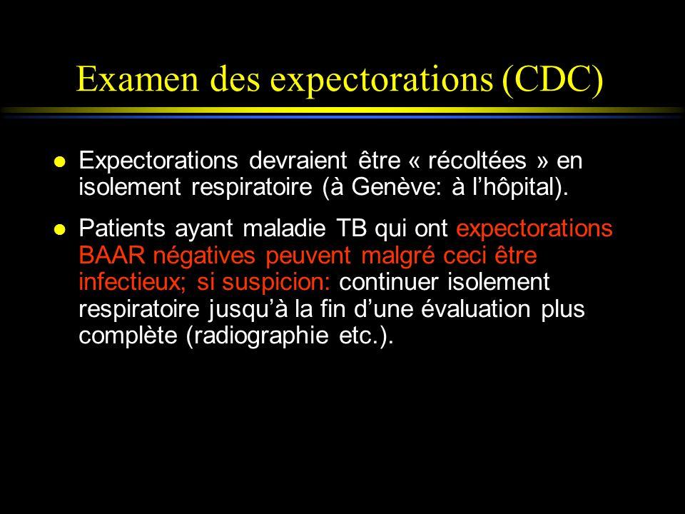 Examen des expectorations (CDC) l Expectorations devraient être « récoltées » en isolement respiratoire (à Genève: à lhôpital). l Patients ayant malad
