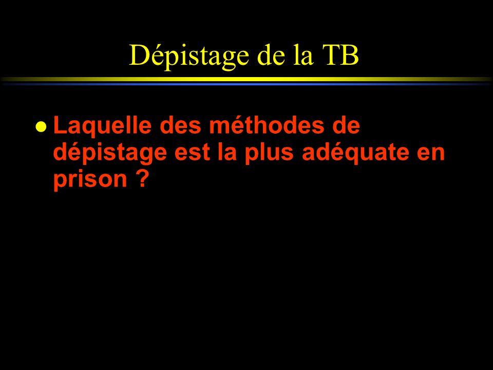 Dépistage de la TB l Laquelle des méthodes de dépistage est la plus adéquate en prison ?