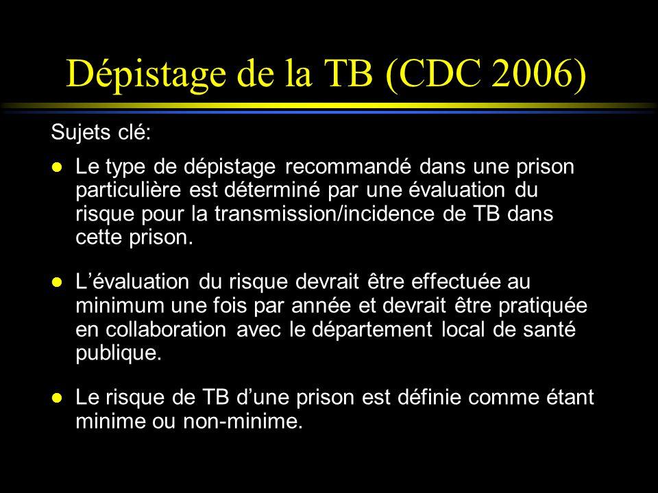 Dépistage de la TB (CDC 2006) Sujets clé: l Le type de dépistage recommandé dans une prison particulière est déterminé par une évaluation du risque po