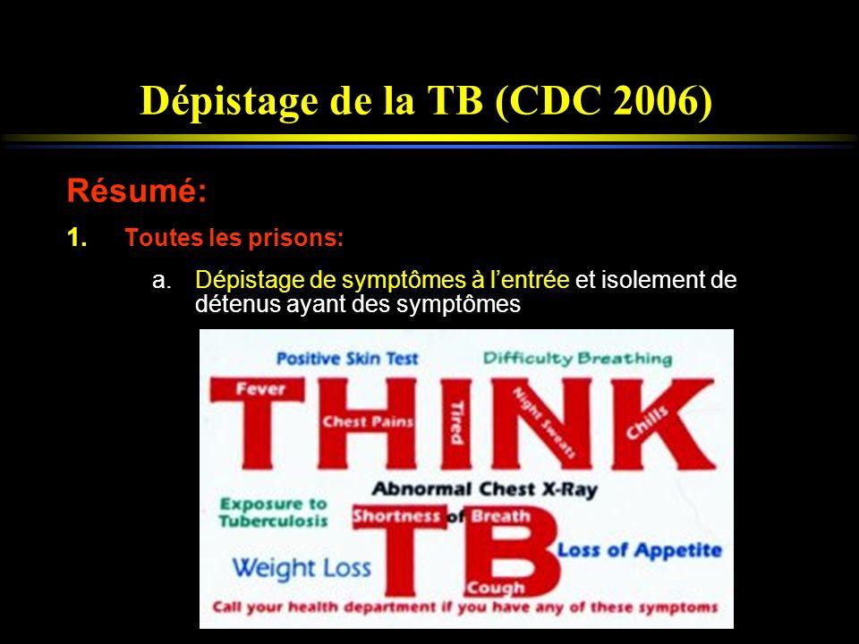 Dépistage de la TB (CDC 2006) Résumé: 1. Toutes les prisons: a.Dépistage de symptômes à lentrée et isolement de détenus ayant des symptômes