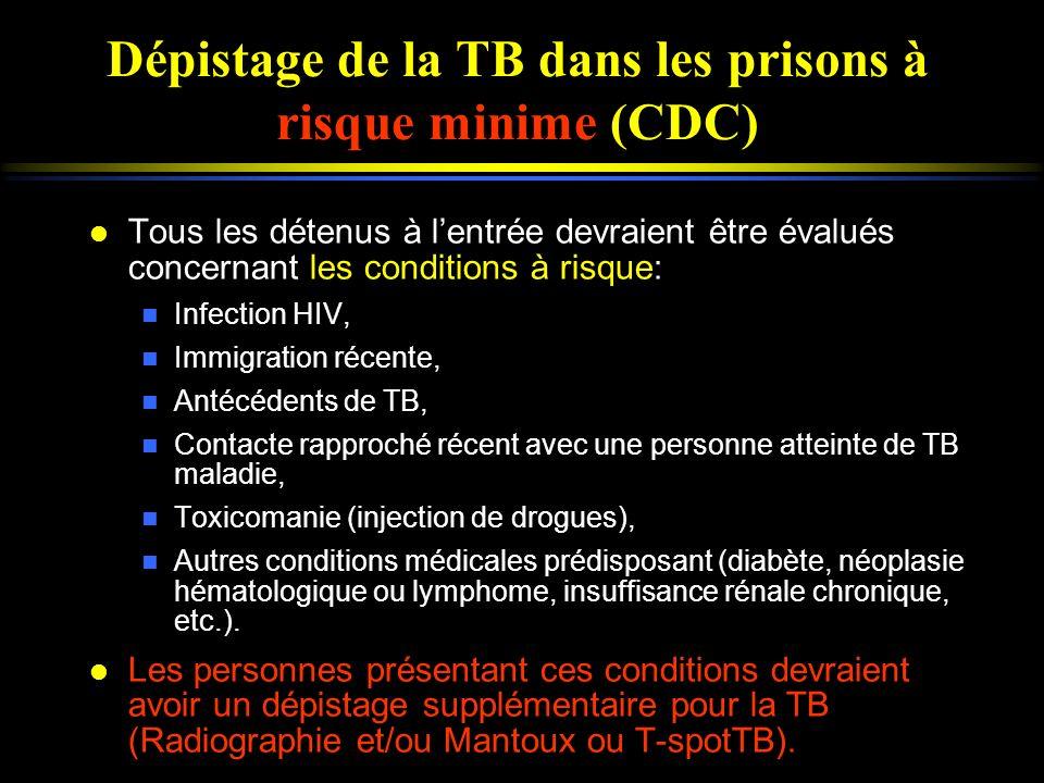 Dépistage de la TB dans les prisons à risque minime (CDC) l Tous les détenus à lentrée devraient être évalués concernant les conditions à risque: n In