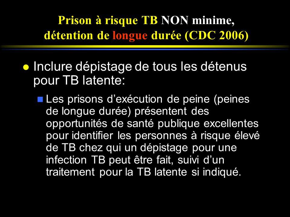 Prison à risque TB NON minime, détention de longue durée (CDC 2006) l Inclure dépistage de tous les détenus pour TB latente: n Les prisons dexécution