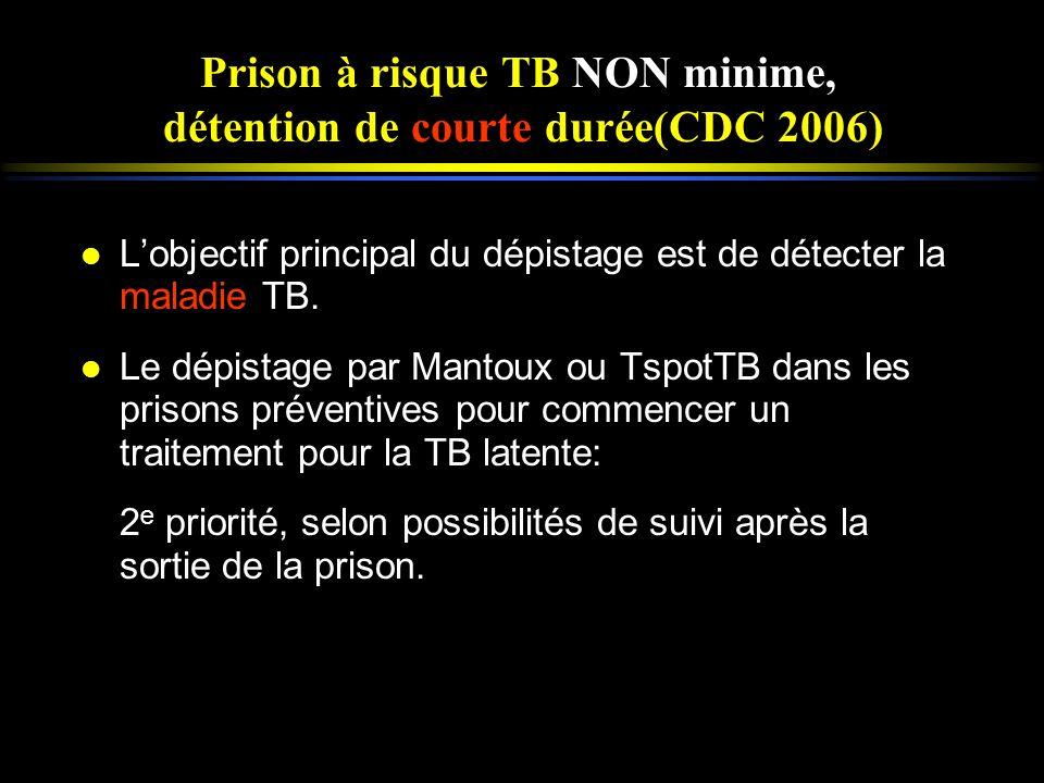 l Lobjectif principal du dépistage est de détecter la maladie TB. l Le dépistage par Mantoux ou TspotTB dans les prisons préventives pour commencer un