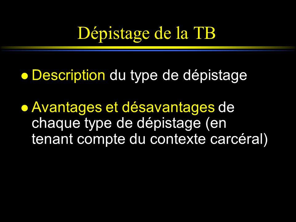 Dépistage de la TB l Description du type de dépistage l Avantages et désavantages de chaque type de dépistage (en tenant compte du contexte carcéral)