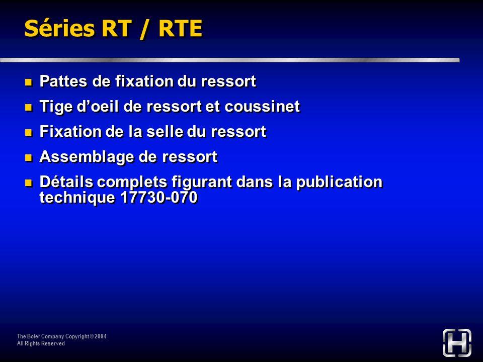 The Boler Company Copyright © 2004 All Rights Reserved Séries RT / RTE Pattes de fixation du ressort Tige doeil de ressort et coussinet Fixation de la