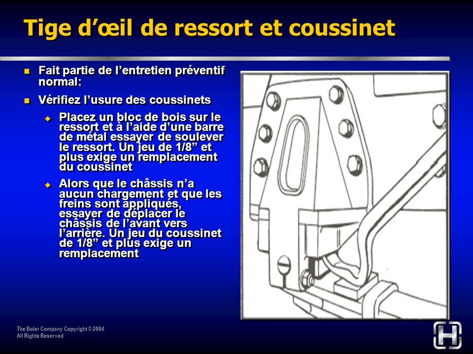 The Boler Company Copyright © 2004 All Rights Reserved Tige dœil de ressort et coussinet Fait partie de lentretien préventif normal: Vérifiez lusure d
