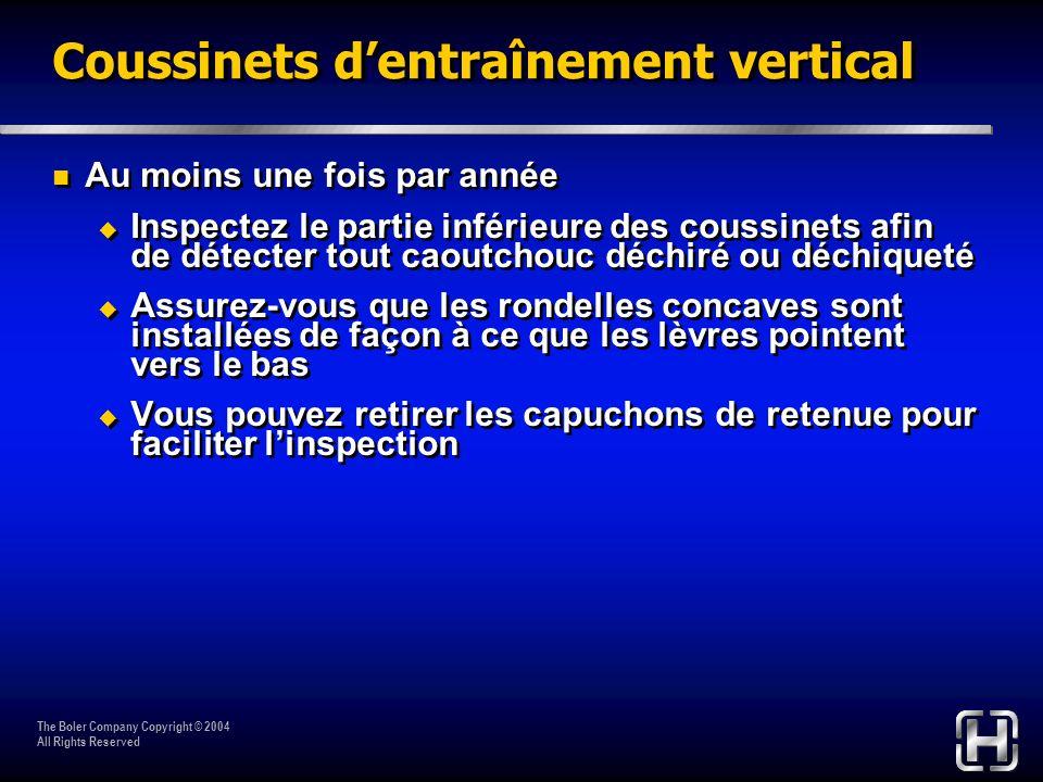 The Boler Company Copyright © 2004 All Rights Reserved Coussinets dentraînement vertical Au moins une fois par année Inspectez le partie inférieure de