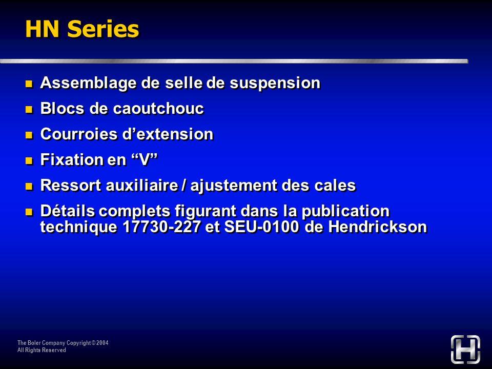 The Boler Company Copyright © 2004 All Rights Reserved HN Series Assemblage de selle de suspension Blocs de caoutchouc Courroies dextension Fixation e