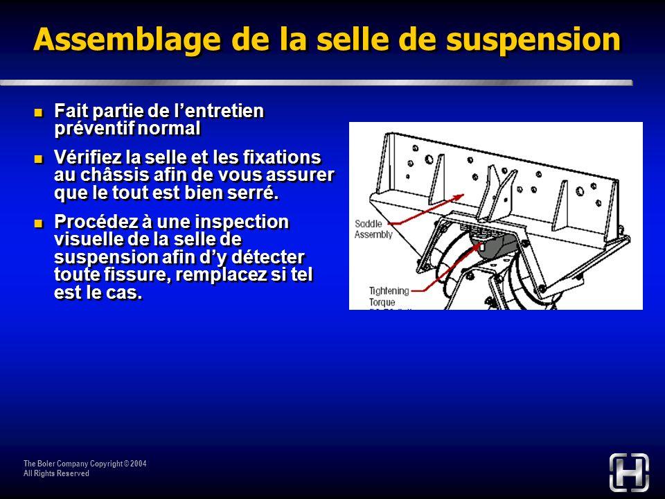 The Boler Company Copyright © 2004 All Rights Reserved Assemblage de la selle de suspension Fait partie de lentretien préventif normal Vérifiez la sel