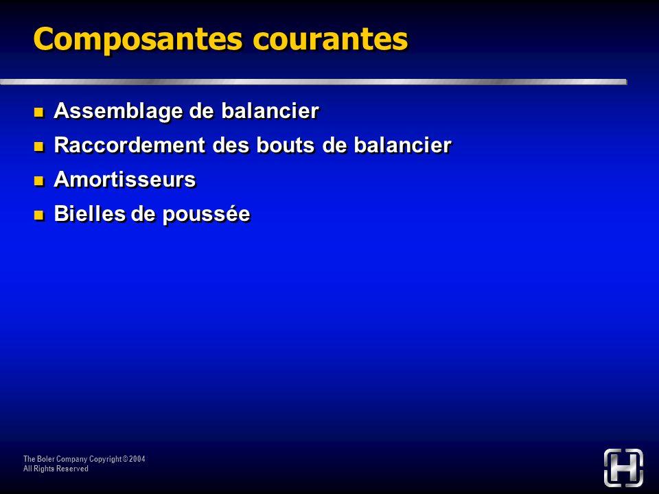 The Boler Company Copyright © 2004 All Rights Reserved Composantes courantes Assemblage de balancier Raccordement des bouts de balancier Amortisseurs