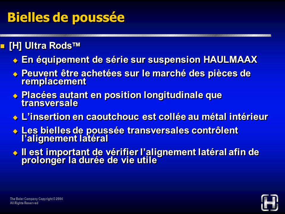 The Boler Company Copyright © 2004 All Rights Reserved [H] Ultra Rods TM En équipement de série sur suspension HAULMAAX Peuvent être achetées sur le m
